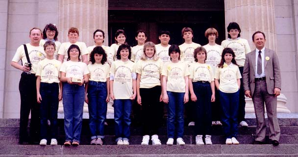1986 Caldwell 6th Grade Class at Kansas Capitol on 24 March 1986
