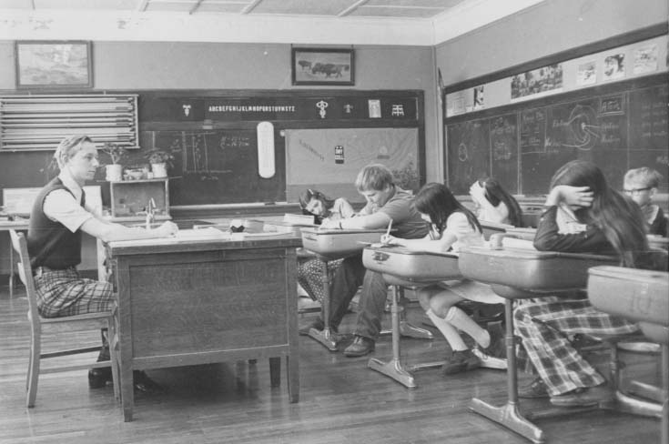 Mr. Miller in classroom (1973)